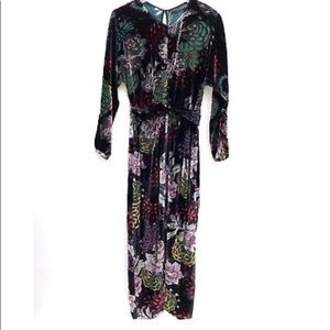 NWOT ZARA Draped Velvet Floral Midi Dress